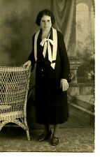 Portrait of Lady-Wire Rim Glasses-Wicker Chair-RPPC-Vintage Real Photo Postcard