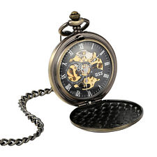 Skeleton Chain Antique Bronze Gift Mechanical Pocket Watch Deer Pattern Couple