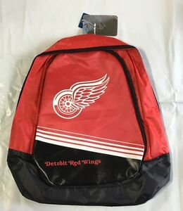 Detroit Red Wings BackPack / Back Pack Book Bag NEW - TEAM COLORS Core Stripe