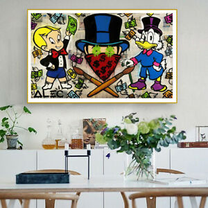 Alec Monopoly Phillip Plein Oil Painting on Fabric Urban Art Printed Poster