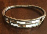 Vintage Bracelet Alpaca Silver Mother of Pearl Child's Bracelet Signed