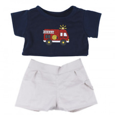 "FIREMAN t-shirt and shorts outfit fit 16""/40cm BUILD your own TEDDY BEAR CLOTHES"