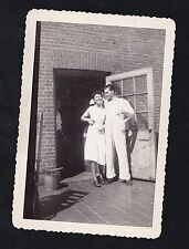 Old Vintage Photograph Man and Woman Standing By Back Door of Brick Building