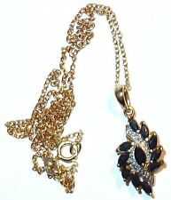 ROSS SIMONS Designer GOLD on STERLING SAPPHIRE PENDANT w/DIAMONDS on CHAIN~L #4!