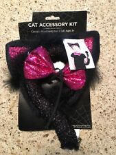 Cat Accessory Halloween Costume Kit Black & Pink Headband, Bow & Tail Ages 3+