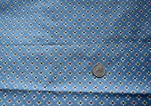 7057  1 yd antique 1950's  fabric, slate blue-tiny pink/green/white figures