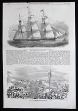 GOLDEN LINE CLIPPER GUIDING STAR SAILING SHIP MILLER & THOMPSON PRINT 1853