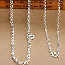 Authentic 990 Sterling Silver 3mm Rolo Link Chain Necklace 50cm Length