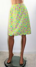 """Vintage 70's  LILLY PULITZER """"The Lilly"""" Cotton Blnd Neon Flower Print Skirt - M"""