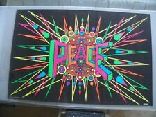 "Vintage Poster ""Peace"" Blacklight Silkscreen CR 27x42"