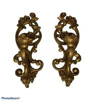 Vintage HOMCO Gold Colored Wall Candle Holders Set of 2, 1971 #4118, 15x5 USA