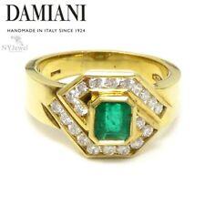 NYJEWEL Damiani 18k Yellow Gold Emerald & Diamond Ring