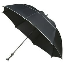 Extra Large Storm Umbrella Strong Fiberglass Frame and Big 140cm Black Canopy