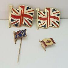 United Kingdom, Australian & Canadian flag lot of 4 badges