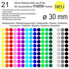 21 Stück Klebepunkte aus Folie matt rund 30mm Aufkleber Sticker Inventur NEU