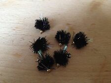 Fly Fishing 6 Blob Trout Flies Black Fritz Brass Head