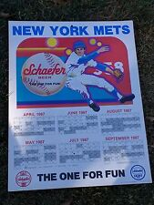 "NY Mets Shea Stadium 1987 Schaefer Beer Schedule on Poster Board 22"" x 17"""
