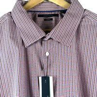 Perry Ellis Big Tall Mens S/S Red Blue Geometric Shirt Cotton Stretch Sz XL $69