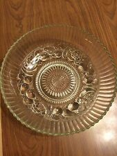 """Vintage Clear Glass Fruit Pattern Heavy Dish 12"""" by 3 1/2"""""""
