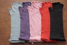Women's thin soft 100% wool half finger long length gloves fingerless Purple