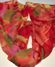 100% Genuine Mulberry Silk Scarf | Large Roses Peach & Lilac 🇦🇺 Crafted 25x70""
