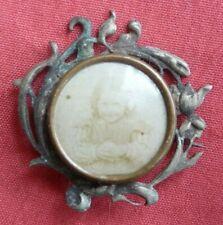 bijou broche photo miniature 1900 art nouveau ancien vintage métal argenté TBE