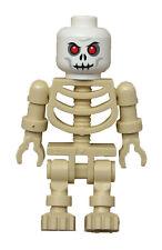 Lego Squlette Beige + Blanc Tête Rouge Yeux Tan Squelette Blanc Tête