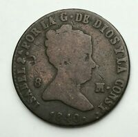 Dated : 1840 - Copper Coin - Spain - 8 Maravedis - Isabel II