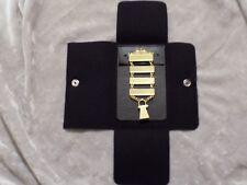 Masonic Lewis Jewels Generational 4 Bar Date Initiation Case Goldtone NEW!