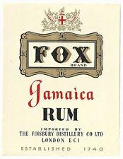 1940's Fox Brand Jamaica Rum Label - London, England