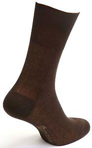 Men's Brown Mid-Calf Diabetic Socks 100% Cotton Made in Italy)