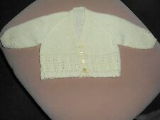 New Hand Knitted Lemon with Fleck Lacey Pattern with Pleated Trim Baby Cardigan