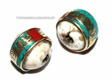 Nepal beads 2 Nepalese Beads Tibetan beads handmade brass conch shell beads B215