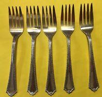 """BRANFORD Silverplate """"Gem"""" Lot Of 5 Salad Forks 5-7/8"""""""