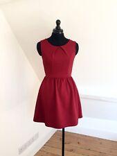 MISSI. Women's Deep Red Textured Skater Dress. Stretch Fabric. Sz 8. EUC
