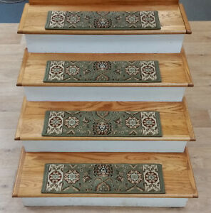 """Rug Depot 13 Traditional Non Slip Carpet Stair Treads 26"""" x 7.5"""" Green Poly"""