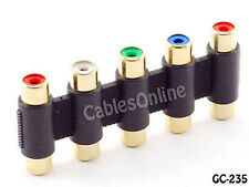 5-RCA Female (Jack) to Female (Jack) Component RGBYW Coupler Gold-Plated, GC-235