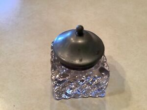 ANTIQUE INKWELL HEAVY FLUTED GLASS w/ PEWTER LID