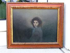 A. Moy Mädchen junge Frau mit Jeansjacke Portrait 1981 Öl signiert Feinmalerei