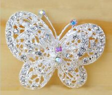 Silver White Double Butterfly Filigree Wedding Cz Diamante Crystal Brooch Pin