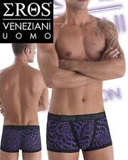 7018 Intimo Sexy Uomo Boxer Maculati Leopardati BiColore Viola e Neri Tg. S / M