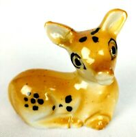 Vintage Small Ceramic Deer Fawn Doe Bambi Figurine Animal Sitting Japan