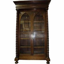 19th Century French Gothic Revival Walnut Bookcase with Glass Doors
