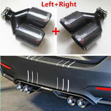 1 Pair 63mm-89mm Universal Glossy Carbon Fiber Car Dual Exhaust Pipe Muffler Tip