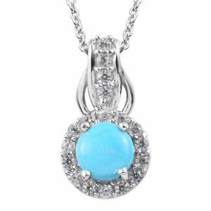 "Natural Sleeping Beauty Turquoise & Zircon Pendant 20"" Platinum Over SS 1.10 ctw"
