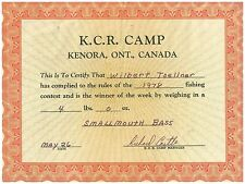 1978 Kenora Ontario Smallmouth Bass Certificate 4 pounds