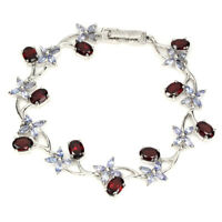 Oval 7x5mm Mozambique Garnet Tanzanite 14k White Gold Plate 925 Silver Bracelet