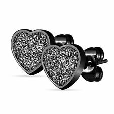 Heart Earring Stud Black Stainless Steel