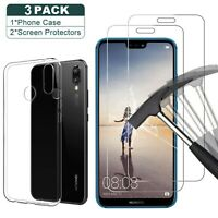 For Huawei P30 Lite Y6 2018 P20 Lite 8X Clear TPU Gel Cover + 2X Tempered Glass