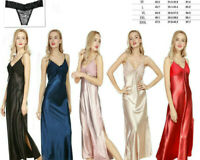 Sexy Women Satin Long Nightgown High Slit Robe Lace Slip Lingerie Dress Camisole